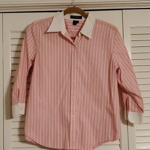 Ralph Lauren Cotton 3/4 Monogramed Sleeve Blouse